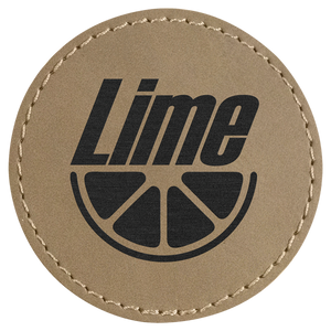 "2 1/2"" Round Light Brown Laserable Leatherette Patch with Adhesive"