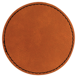 "3"" Round Rawhide Laserable Leatherette Patch with Adhesive"