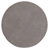 "3"" Round Gray Laserable Leatherette Patch with Adhesive"