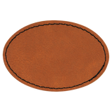 "3"" x 2"" Oval Rawhide Laserable Leatherette Patch with Adhesive"