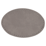 "3"" x 2"" Oval Gray Laserable Leatherette Patch with Adhesive"