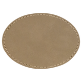 "3 1/2"" x 2 1/2"" Oval Light Brown Laserable Leatherette Patch with Adhesive"