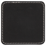 "2 1/2"" x 2 1/2"" Square Black/Silver Laserable Leatherette Patch with Adhesive"