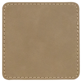 "3"" x 3"" Square Light Brown Laserable Leatherette Patch with Adhesive"