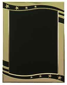 "5 7/8"" x 7 7/8"" Black/Gold Stars Hi-Relief Plaque Plate"