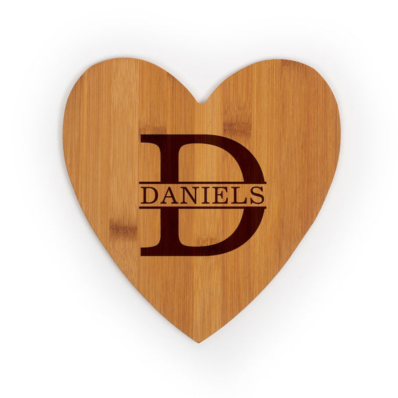 Heart shaped bamboo cutting board