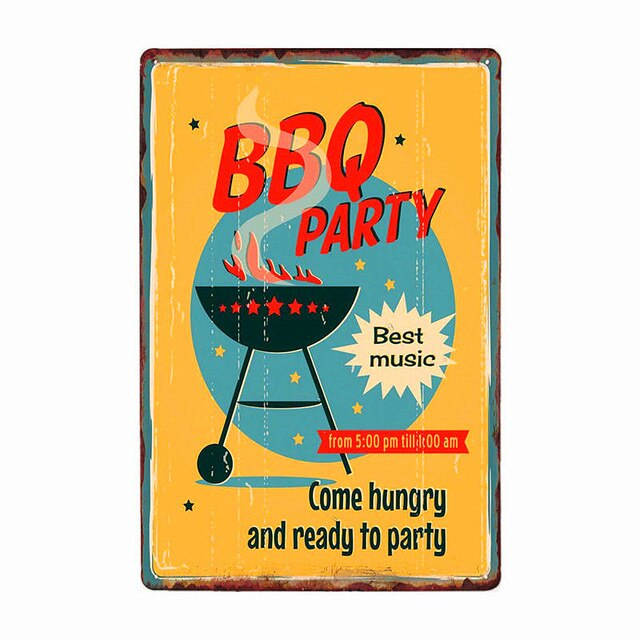 DAD'S BBQ Best Meat Retro Plaque Wall Decor