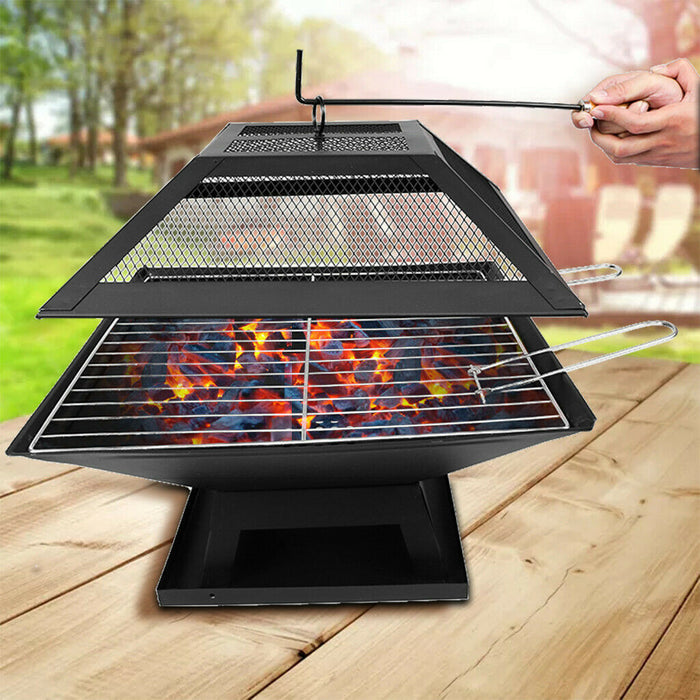 Wood Burning Fire Pit Table Outdoor Garden BBQ Grill Bonfire Stove w// Cover USA