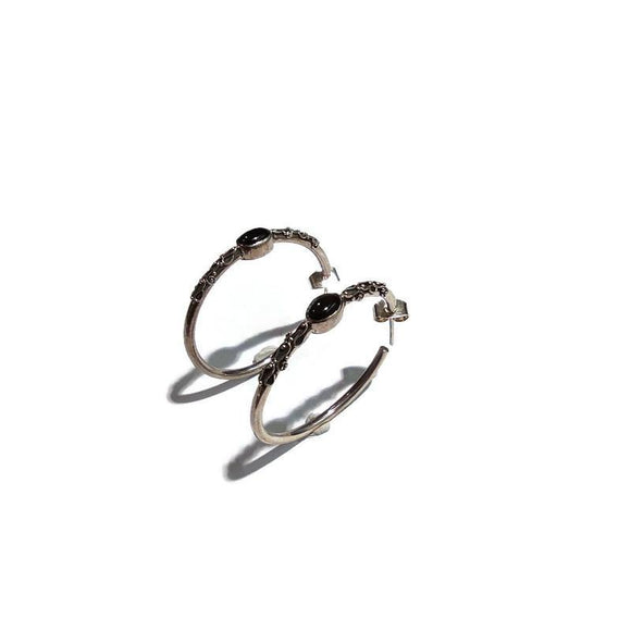 Silver Hoops with Onyx Earrings