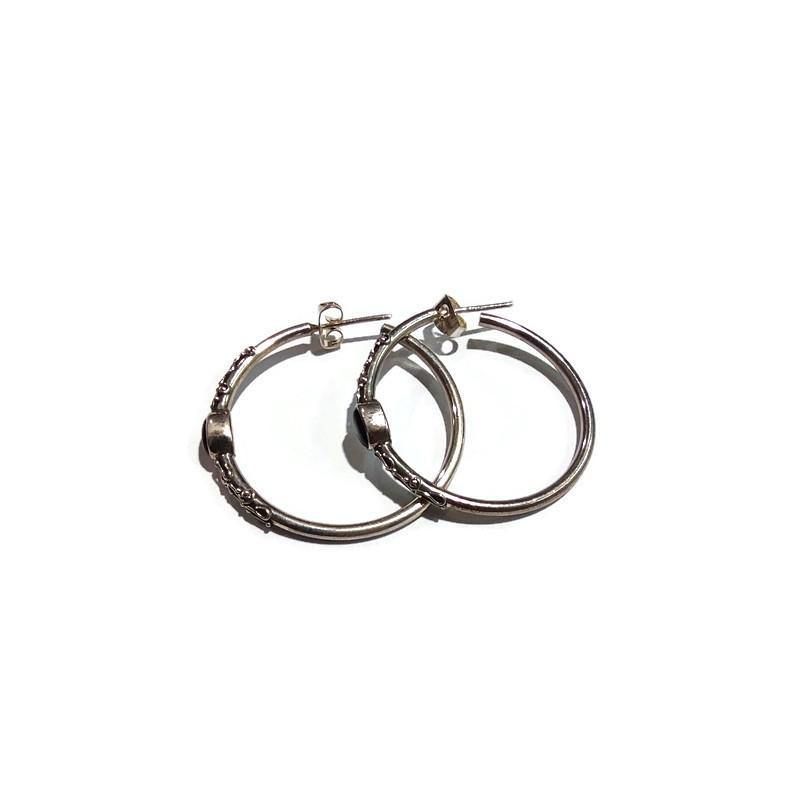 Silver Hoops with Onyx Earrings - Pipat Jewelry Online