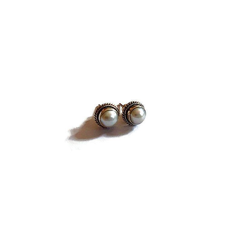 Pearl Earring with rope design - Pipat Jewelry Online