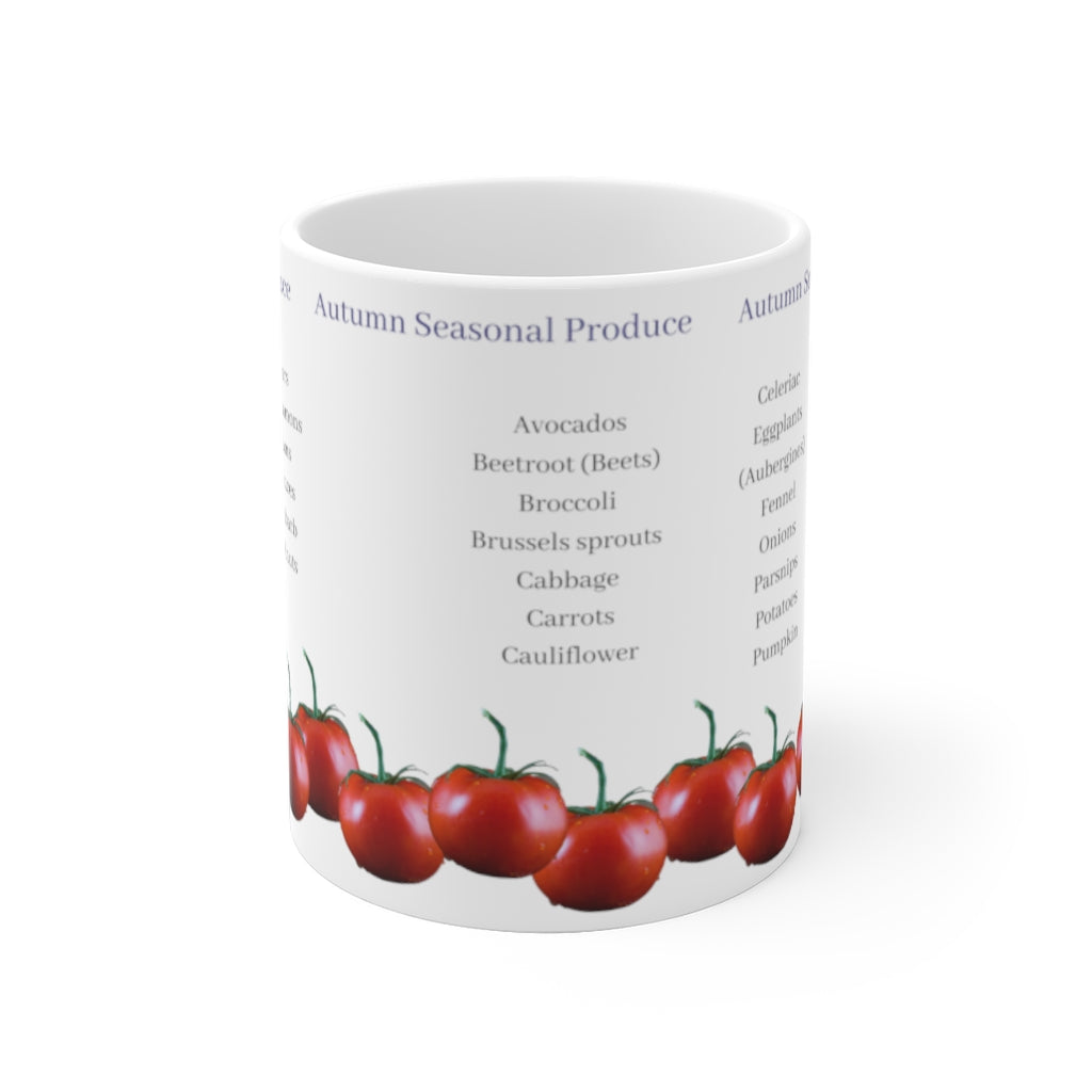 Seasonal Produce Mug | Food Lovers | Gourmet Gifts | Seasonal Shopping | Fresh Fruit and Vegetables | Harvest | Autumn