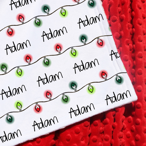 Double Minky Blanket - Christmas Lights in Red and Green
