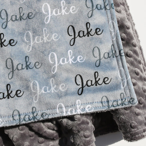 Double Minky Blanket - Name Only - Color Combination with Grey Background
