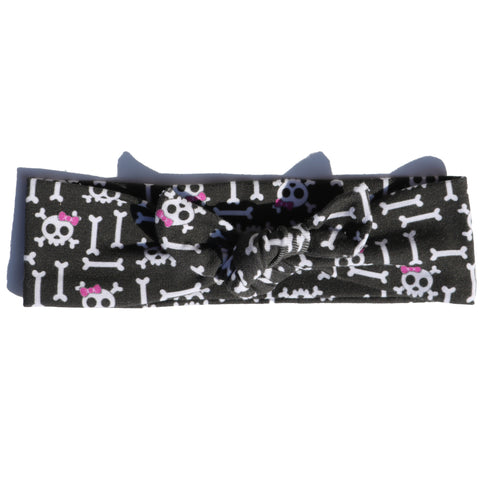 Knotted Headband - Non-Personalized Skull and Bows on Black