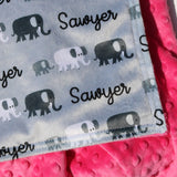 Double Minky Blanket - Monochrome Elephants