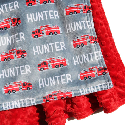 Double Minky Blanket - Firetrucks