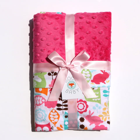 Ready To Ship - Pink Woodland Animal Baby Blanket