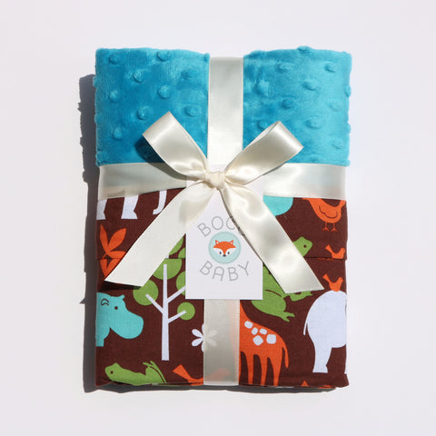 Ready To Ship - Brown Safari Animals Baby Blanket