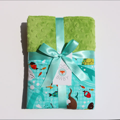 Ready To Ship - Water Animals Baby Blanket