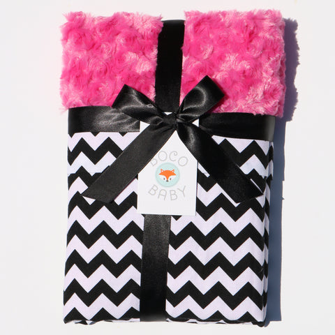 Ready To Ship - Black and White Chevron Baby Blanket With Pink Rosebud Minky