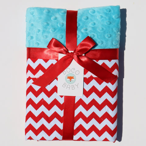 Ready To Ship - Red and White Chevron Baby Blanket With Teal Minky