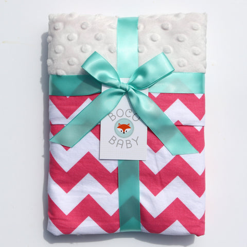Ready To Ship - Pink and White Chevron Baby Blanket  With Ivory Minky