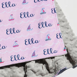 Double Minky Blanket - Sailboats