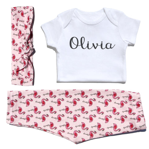 Flamingo Outfit and Personalized Onesie