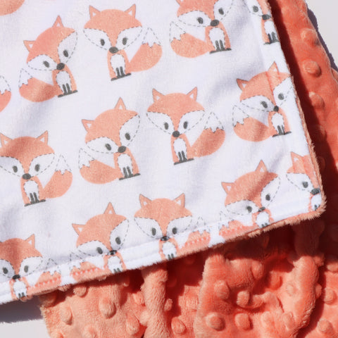 Ready to Ship - LOVEY SIZE -  Kawaii Peachy Fox on White with Peachy Minky