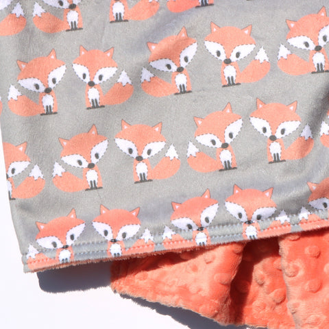 Ready to Ship - LOVEY SIZE - Kawaii Peachy Fox on Grey with Peachy Minky