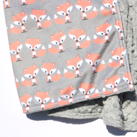 Ready to Ship - LOVEY SIZE -  Kawaii Peachy Fox on Grey with Sterling Minky