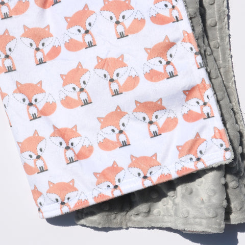 Ready to Ship - LOVEY SIZE - Kawaii Peachy Fox on White with Sterling Minky