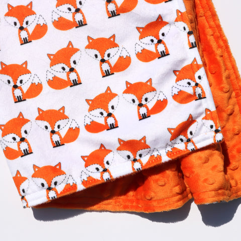 Ready to Ship - LOVEY SIZE -  Kawaii Carrot Fox on White with Carrot Minky