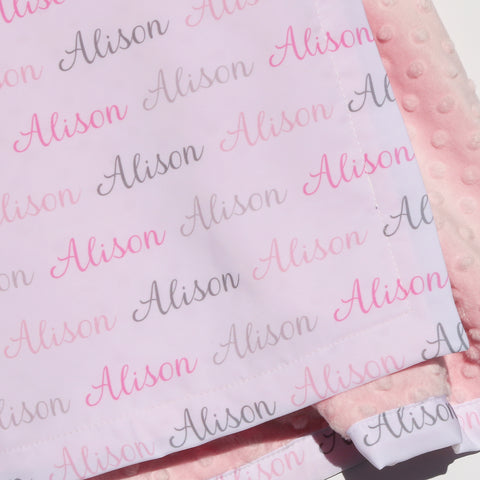 Minky Blanket - Name Only - Color Combination with White Background
