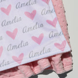 Double Minky Blanket - Hearts