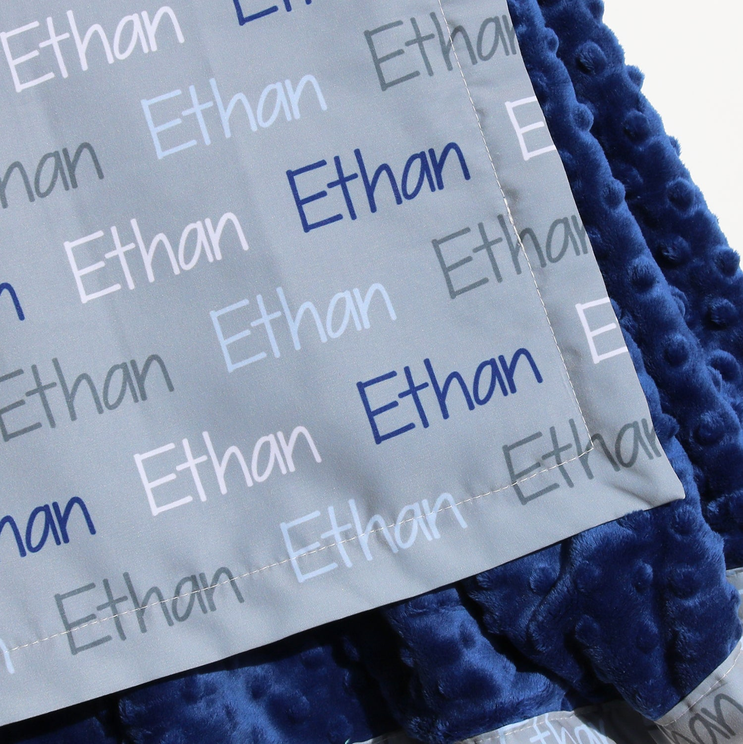 Minky Blanket - Name Only - Color Combination with Grey Background