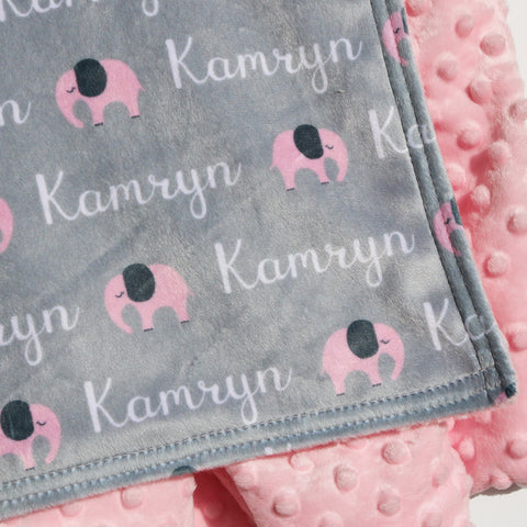Double Minky Blanket - Elephants