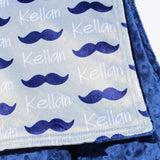 Double Minky Blanket - Mustaches