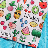 Minky Blanket - Kawaii Fruit and Veggies