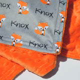 Double Minky Blanket - Foxes