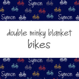 Double Minky Blanket - Bikes with Bombay Background