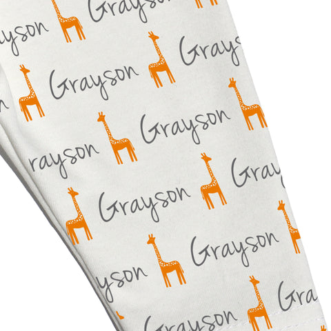 Name Leggings - Giraffes