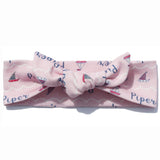Knotted Headband - Pink Sailboats