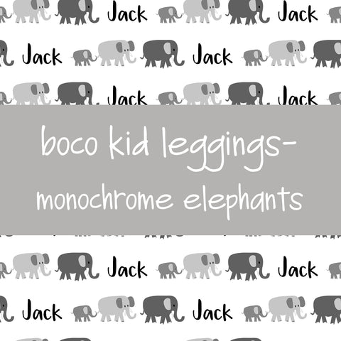 Boco Kids - Name Leggings - Monochrome Elephants