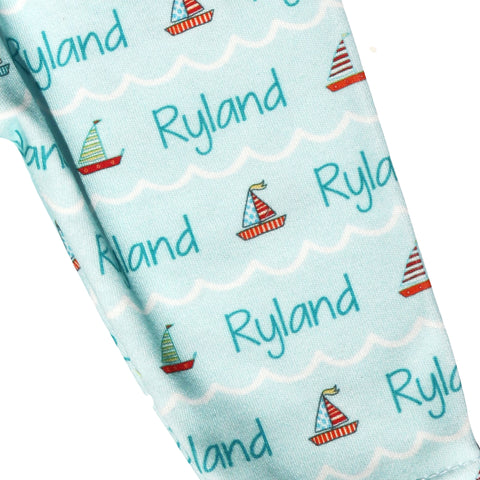 Name Leggings - Teal Sailboats