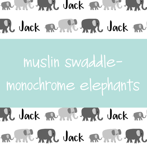 Muslin Swaddle - Monochrome Elephants