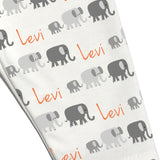 Name Leggings - Monochrome Elephants