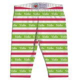 Name Leggings - Stripes in Green and Red
