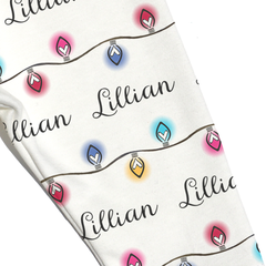 Name Leggings - Christmas Lights in Multi-Color